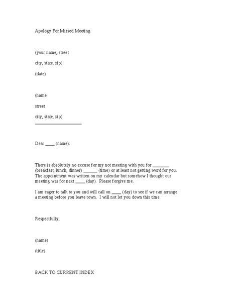 Apology Letter Sle For Missing A Meeting Apology For Missed Meeting Letter Template Hashdoc