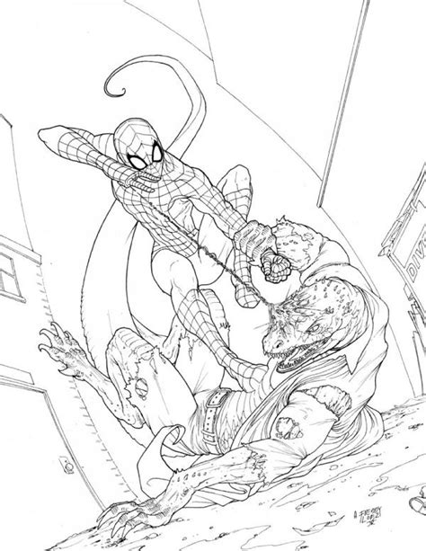 lizard spiderman coloring pages spidey vs the lizard by graphicgeek on deviantart