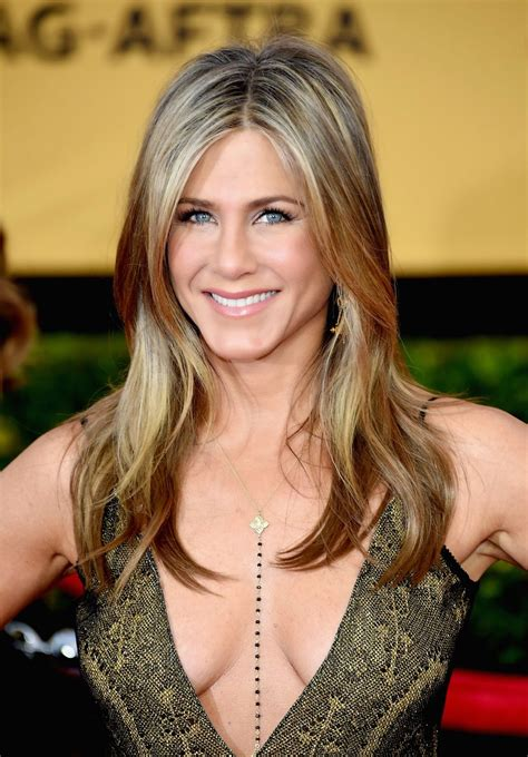 empire beauty school commercial actress kate jennifer aniston bares le cleavage at the 21st annual