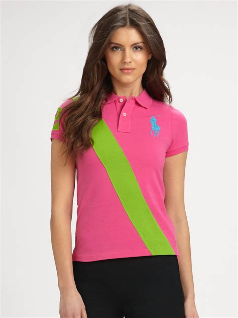 Blouse Qorry Polo Pink lyst ralph blue label banner polo shirt in pink