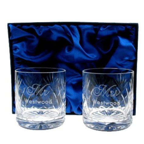 Engraved Crystal Anniversary Mr and Mrs Whisky Glasses