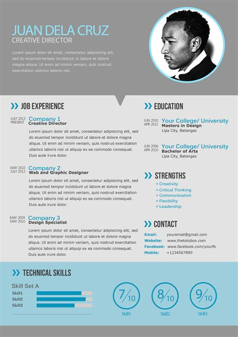 modern resume template free flat and modern resume cv psd template freebies