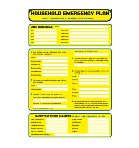 diving emergency plan template emergency plan template template business
