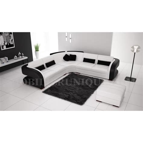 canapé noir et blanc design canap 233 d angle cuir blanc et noir design pas cher achat