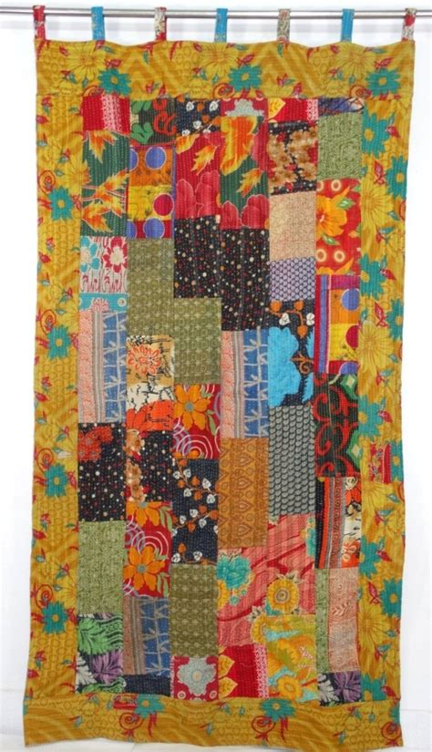 Sari Patchwork Curtain - vintage kantha curtain indian sari curtain sari kantha