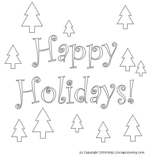 free coloring pages happy holidays happy holidays greeting card christmas trees coloring page