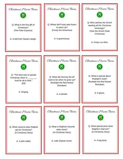 the night before christmas movie trivia free printable trivia cards christmastime