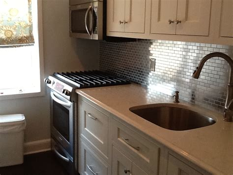 kitchens with stainless steel backsplash stainless steel 1x2 kitchen backsplash subway tile outlet