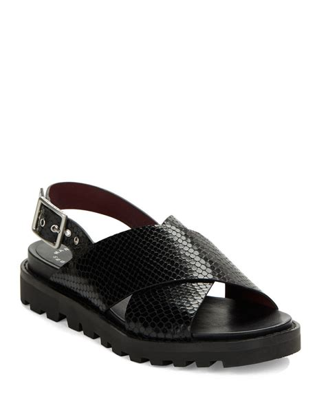 Marc Jabobs Sandals by Marc By Marc Embossed Leather Cross Sandals