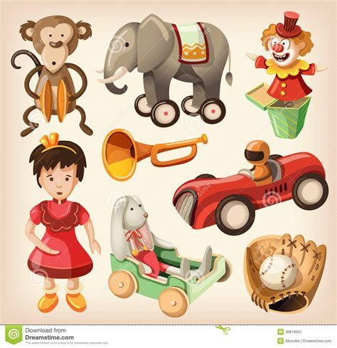 set  colorful vintage toys  kids stock vector