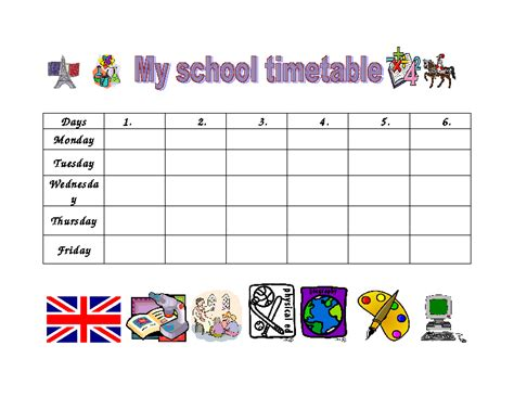 timetable school template school timetable