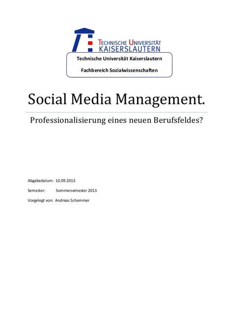 social media management professionalisierung eines neuen