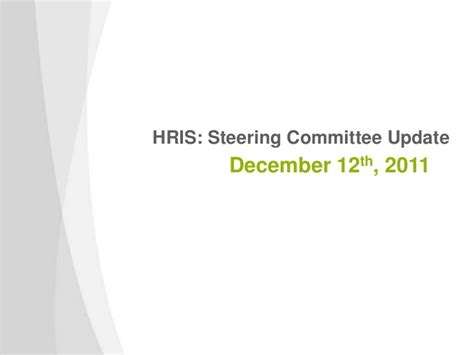 Hris Steering Committee Template Steering Committee Presentation Exle