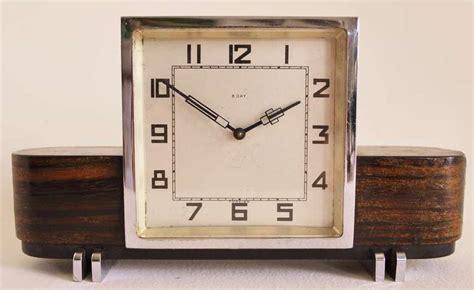 mechanical desk clock small german art deco chrome and macassar veneer