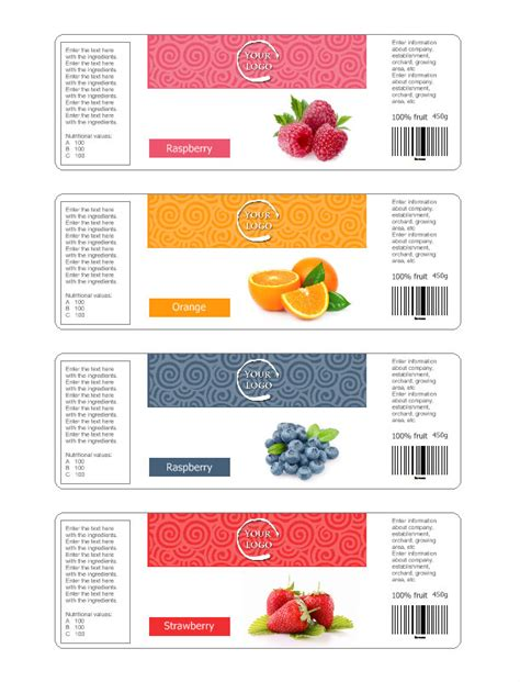 jam labels template jam label template free