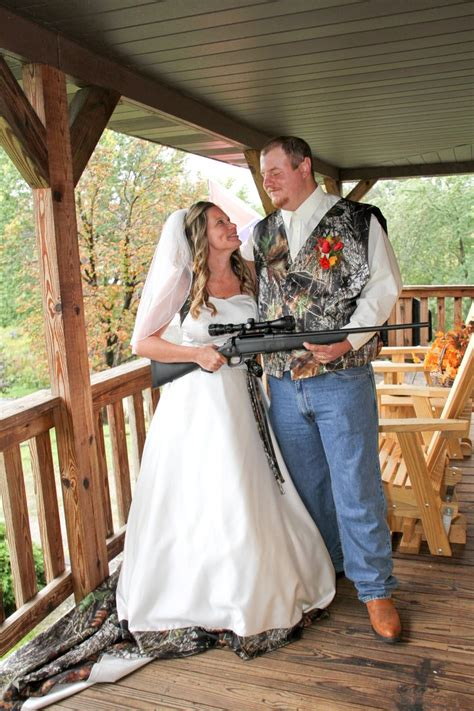 country camo wedding dress theme groom gave bride