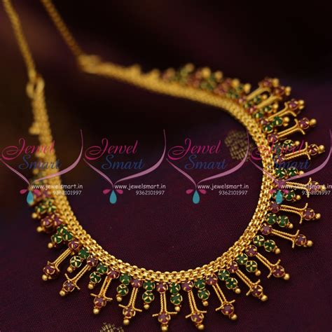 Handmade Gold Jewellery - nl8659 ruby emerald fancy handmade gold design imitation