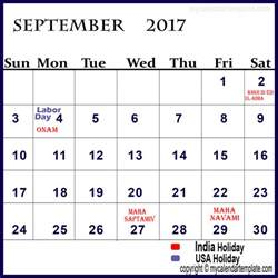 Calendar September 2017 With Holidays September 2017 Calendar With Holidays Calendar