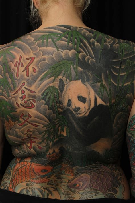 full back tattoo panda back by nille from salvation in