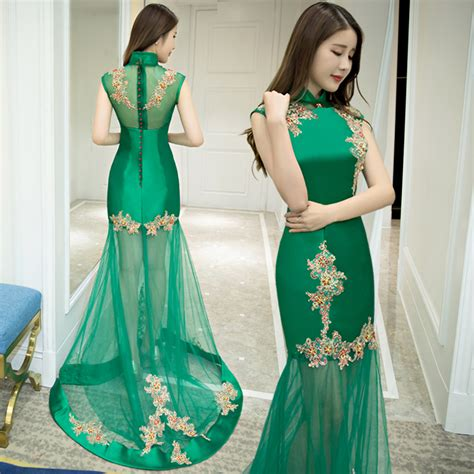 A Dress Anak Wedding traditional qipao dress sleeveless wedding gown fishtail sequin mermaid green