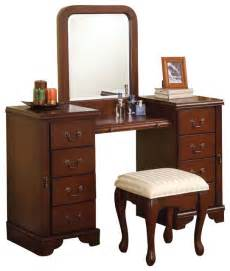 Vanity Table Kit Cherry Louis Philipe 3 Pc Make Up Table Bench Mirror 8