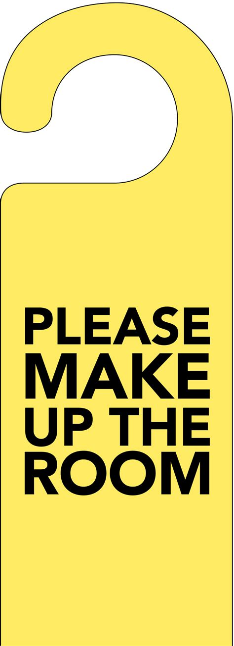 the make room please make up my room door hanger yellow