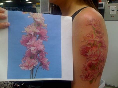 tattoos without outlines floral without black outline violet primrose