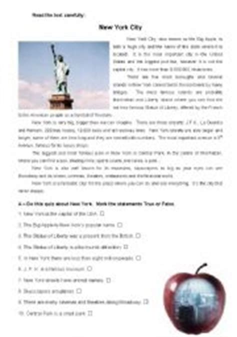Reading Comprehension Test New York | english worksheet new york city reading