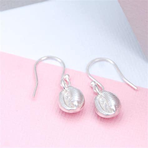 Handmade Shell Earrings - sterling silver cowrie shell earrings by penelopetom
