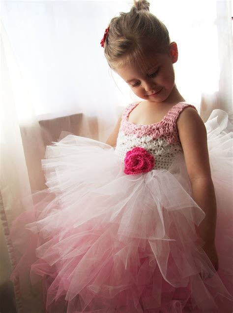 pattern for flower girl tutu dress flower girl tutu dress crochet bodice ombre pink and white