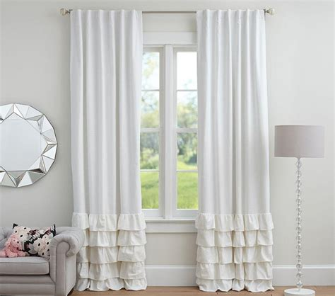 pb kids curtains evelyn linen blend ruffle bottom blackout curtain