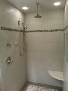 small tile shower with bench for the home