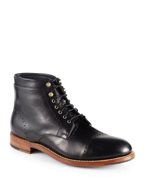 cole haan martin laceup boots in black for lyst
