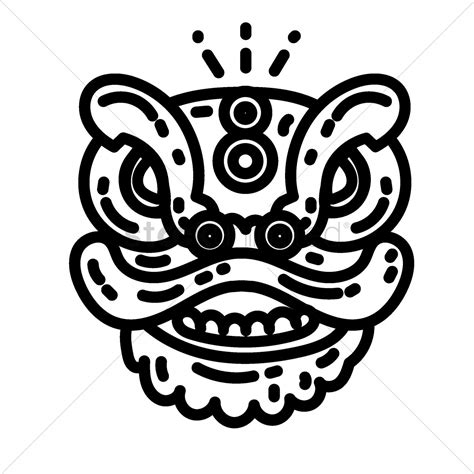 chinese lion dance head vector image 1970623