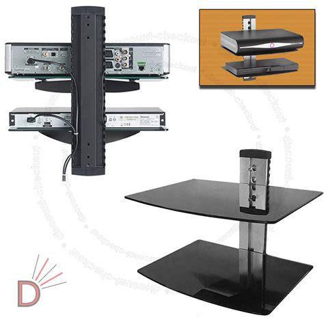 glass tv lcd led wall mount bracket 2 shelves shelf for