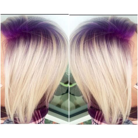 root hair color purple violet shadow root with platinum hair follow