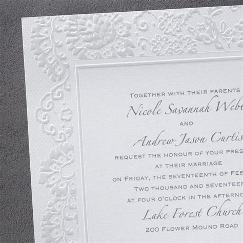 Wedding Invitations Embossed Border by Lace Embossed Border Wedding Invitations Flamingo