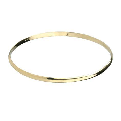 9ct gold 3mm solid bangle bracelet