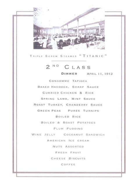 titanic second class menu slideshow oysters 233 clairs and plenty of booze tasting