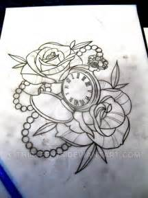 pocket watch and roses traditional tattoo design by