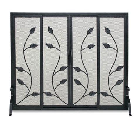 flat fireplace screen with doors black flat garden vine fireplace screen with sliding doors