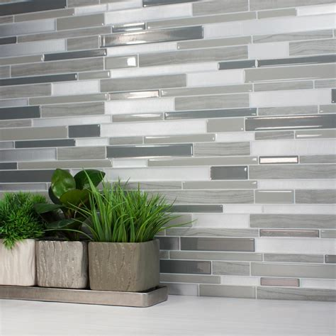 smart tiles stainless 10 625 in w x 10 00 in h peel and smart tiles milano grigio 11 55 in w x 9 63 in h peel