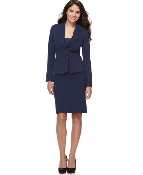 agb two button suit jacket button detail flounced skirt