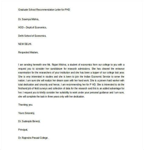 Letter For Research Supervisor Letters Of Recommendation For Graduate School 38 Free Documents In Pdf Word
