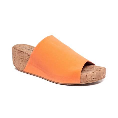 orange cork wedge sandals dkny alma slide cork wedge sandals in orange lyst