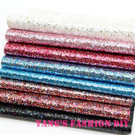 10 pcs set 20x22cm per pcs diy high quality chunky glitter color mix leather fabric synthetic