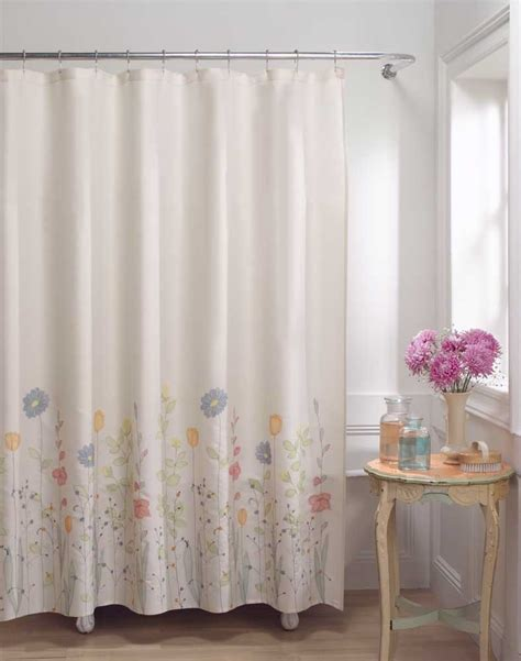 material shower curtains flower fields fabric shower curtain curtainworks com