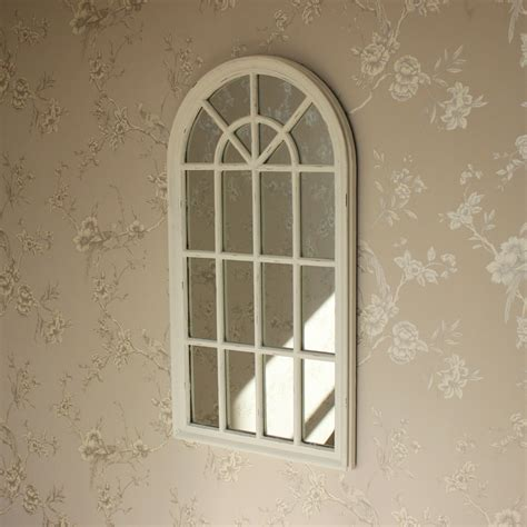 cream arched window style wall mirror shabby vintage chic