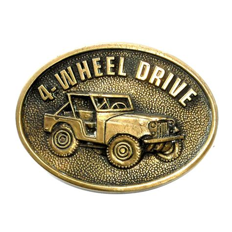 Jeep Belt Buckle Willys Jeep Four Wheel Drive Bts Brass Vintage Belt Buckle
