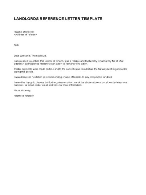 landlord reference letter landlord reference letter template business 1347